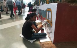 Student volunteers of Nature's Club paint the Panvel Railway Station